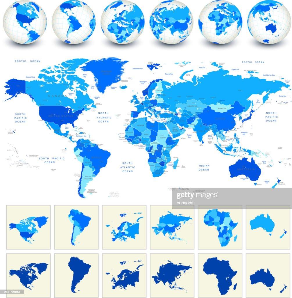 Weltkarte Geografie : Stock-Illustration