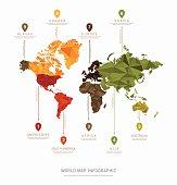 World map geometric vector infographics