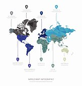 World map geometric vector infographics