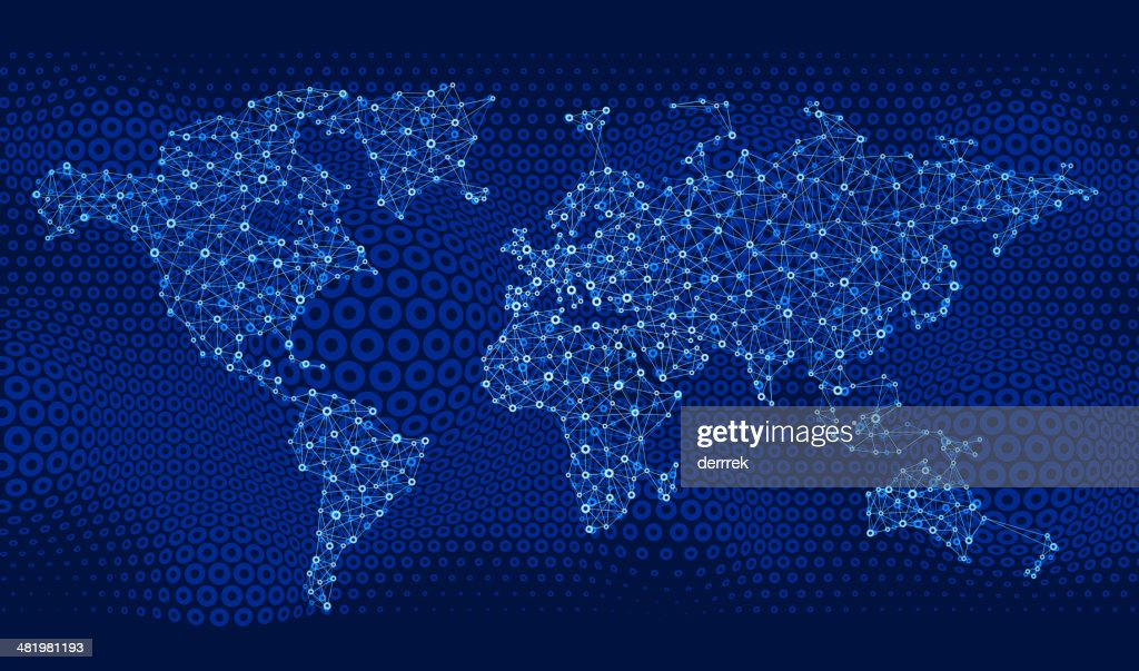 World Map Global Communications : Vector Art