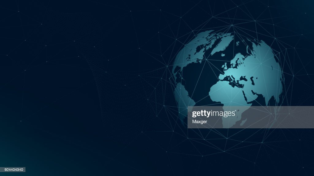 World map global network connection, technology futuristic plexus vector background
