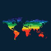 World map global warming on red background