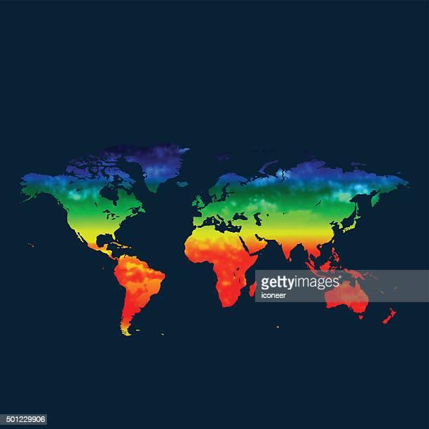 Mapa do mundo aquecimento global sobre fundo vermelho