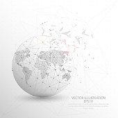 World map globe digitally drawn low poly triangle wire frame.