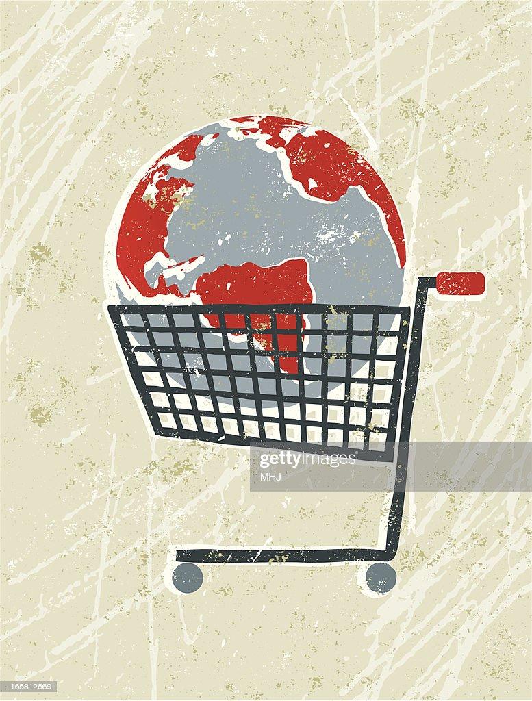 world map globe in a shopping trolley vector art