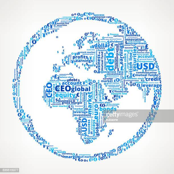 World Map Globe on Business and Finance Word Cloud