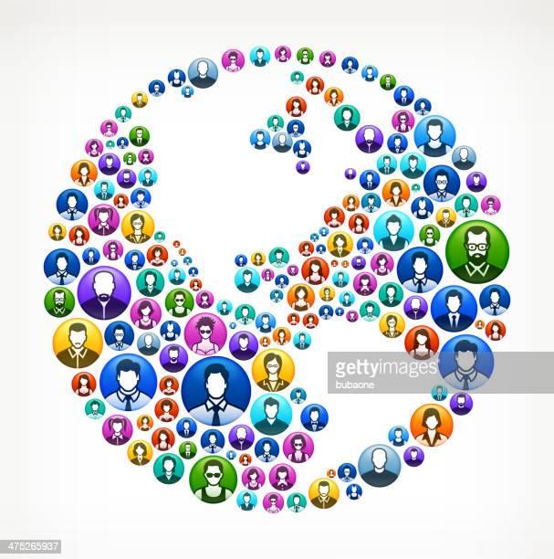 karte der welt auf menschen knöpfen - piktogramm collage stock-grafiken, -clipart, -cartoons und -symbole