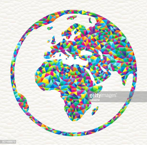 world map globe on triangular pattern royalty free vector art - free mosaic patterns stock illustrations
