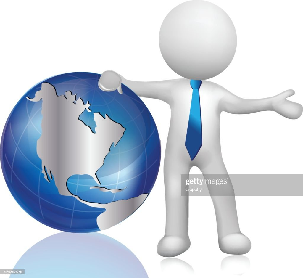 World map globe with 3d man icon vector vector art getty images world map globe with 3d man icon vector vector art gumiabroncs Gallery