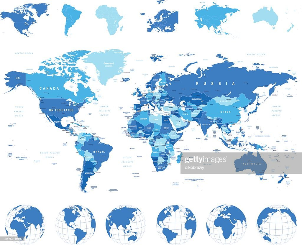 World Map, Globes, Continents - illustration