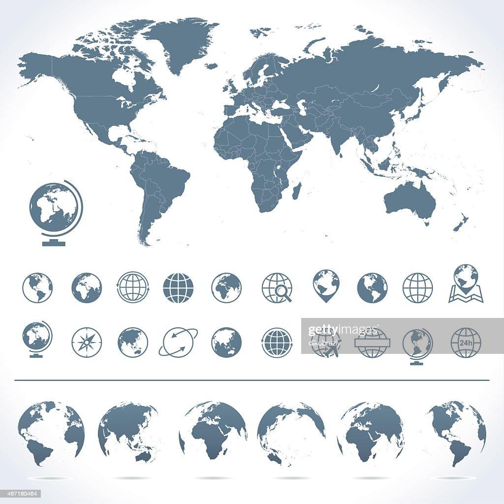 World Map, Globes Icons and Symbols - Illustration