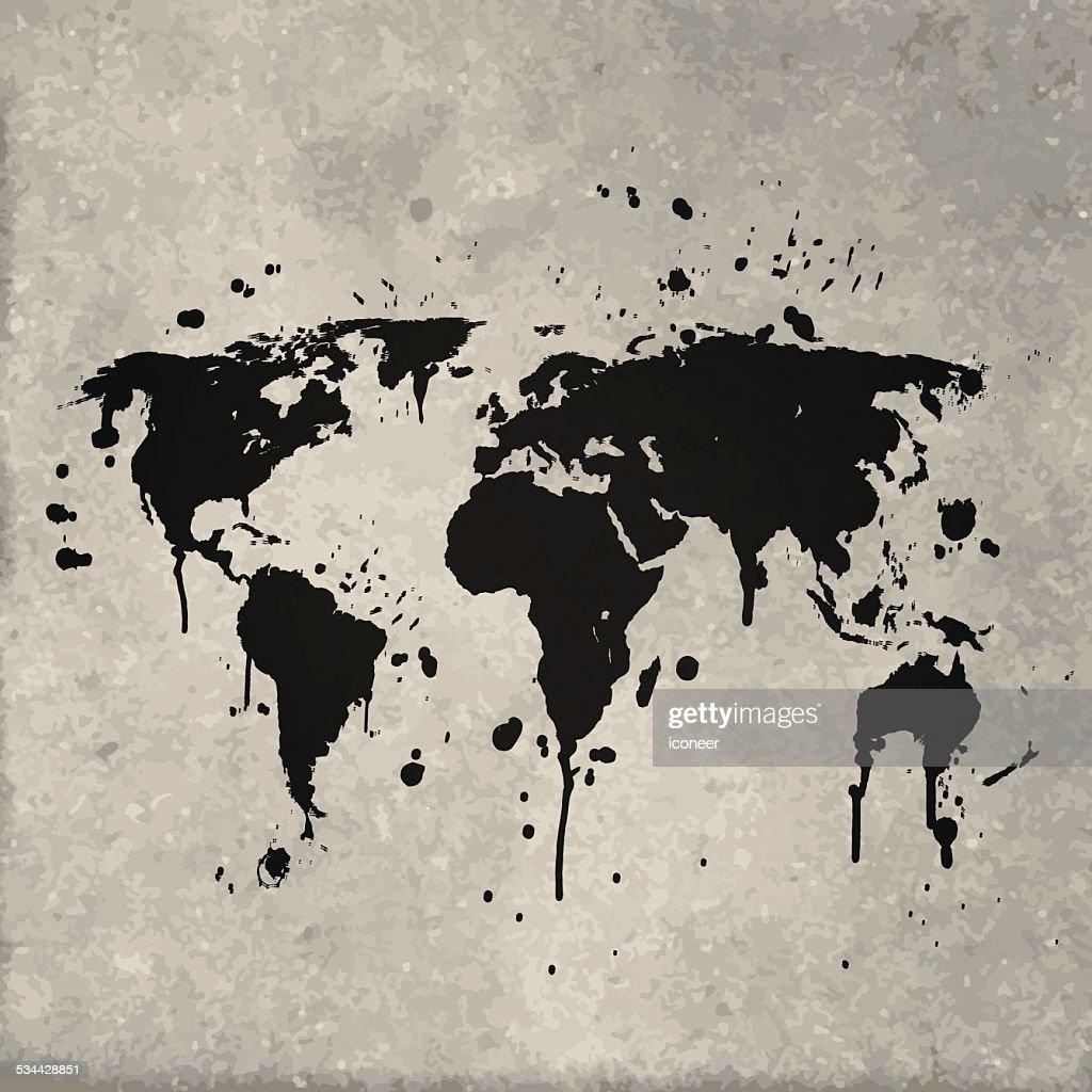 World map graffiti black splats on wall vector art getty images world map graffiti black splats on wall vector art gumiabroncs Choice Image