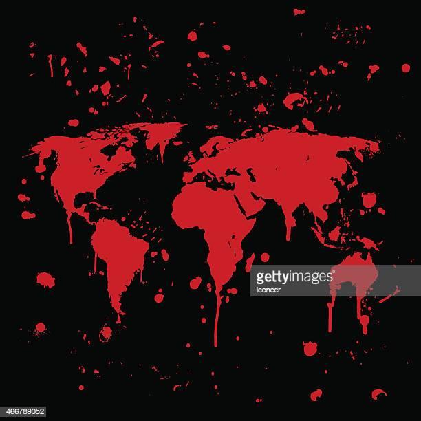 世界地図グラフィティレッド splats に黒色の壁 - 血しぶき点のイラスト素材/クリップアート素材/マンガ素材/アイコン素材