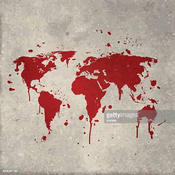 世界地図グラフィティ壁の上の赤い splats - 血しぶき点のイラスト素材/クリップアート素材/マンガ素材/アイコン素材