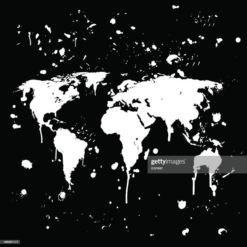 World map graffiti white splats on black wall vector art getty images world map graffiti white splats on black wall vector art gumiabroncs Choice Image