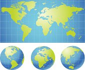 World map graphic with different views of the globe