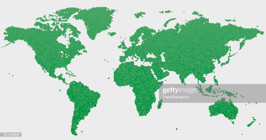 World Map grünen Sechseck-Muster : Vektorgrafik