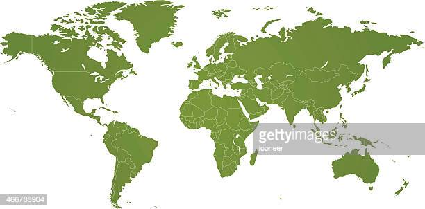 Mapa do mundo verde com países em fundo branco