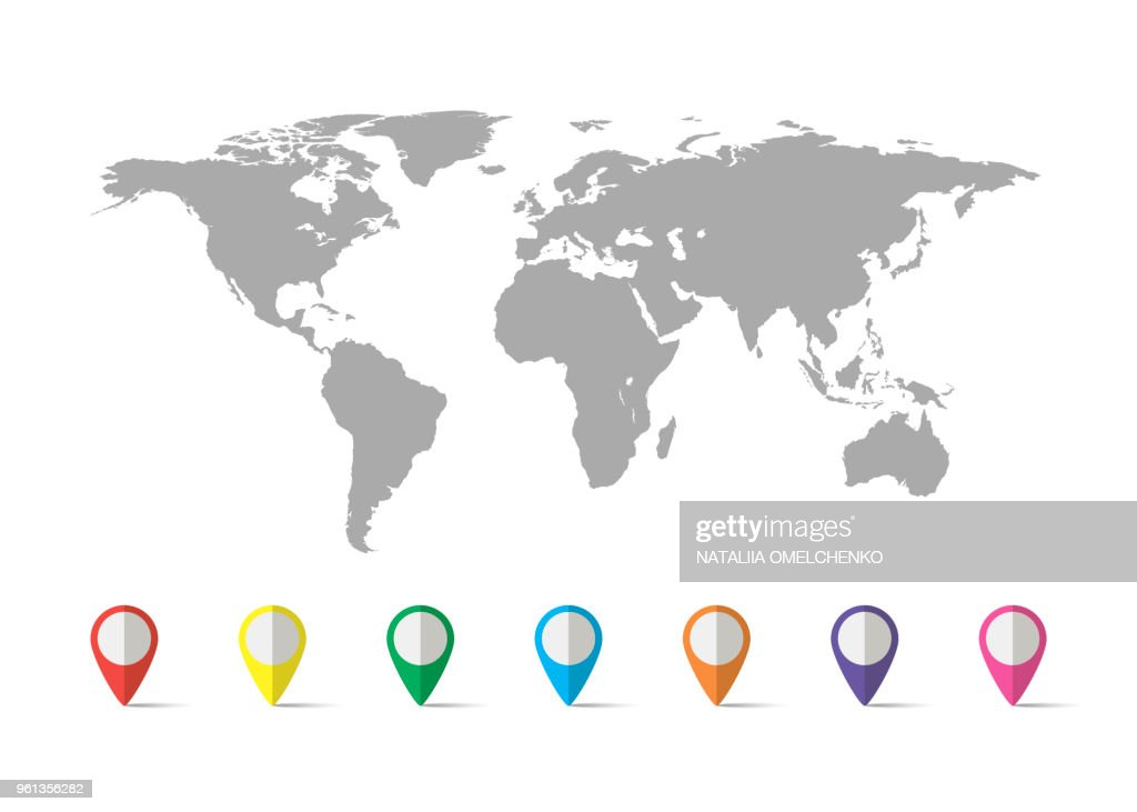 World map grey colored on a white background with pin vector art world map grey colored on a white background with pin vector art gumiabroncs Images