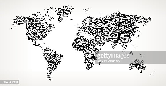 World map gun black icon pattern background vector art getty images gumiabroncs Gallery