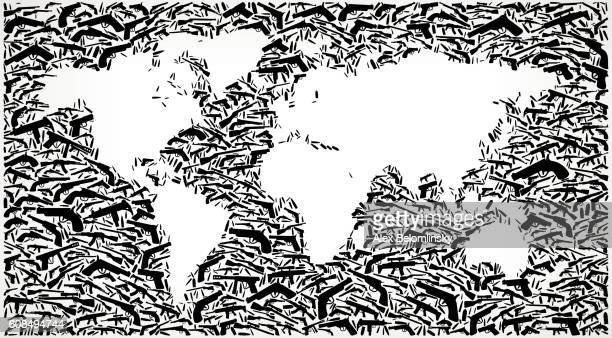 World Map Gun Black Icon Pattern Background