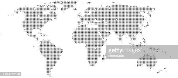 illustrazioni stock, clip art, cartoni animati e icone di tendenza di mappa del mondo half tone - chiazzato