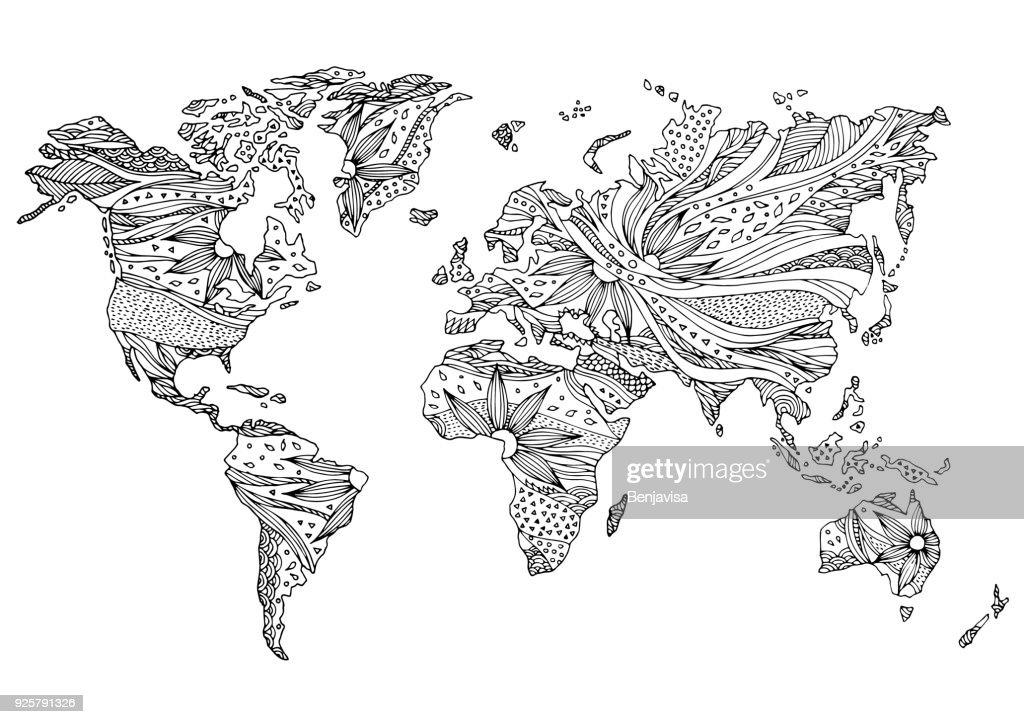 world map hand drawn flower floral design vector