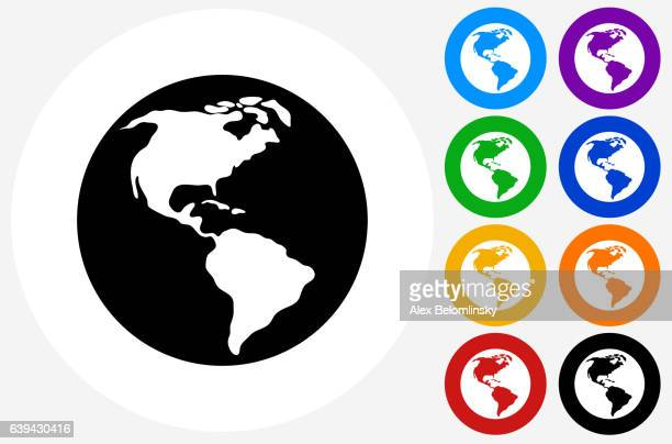 World Map Icon on Flat Color Circle Buttons