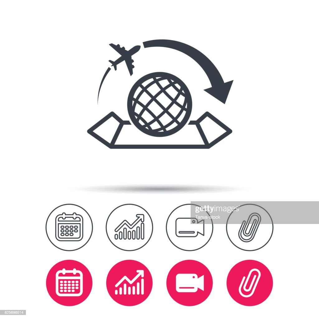 World map icon. Plane travel sign.