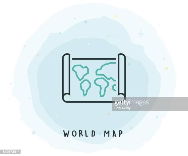 Het pictogram van de kaart van de wereld met aquarel Patch