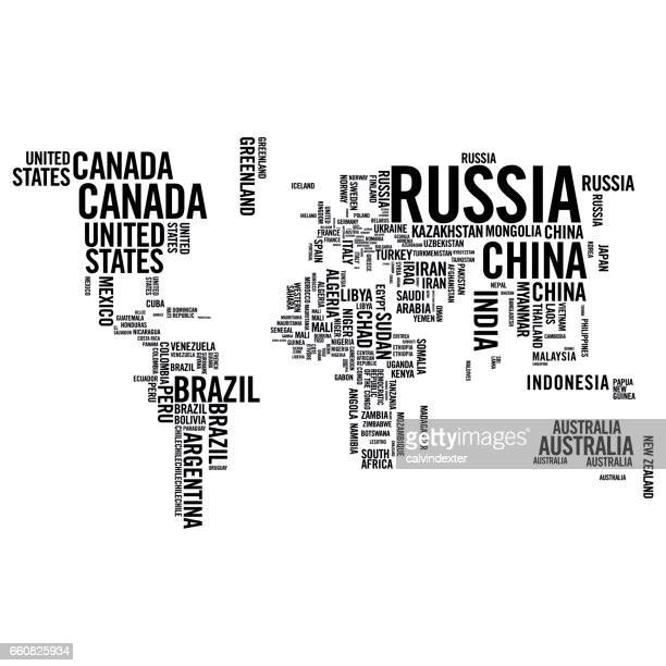 world map illustrated with countries names - international border stock illustrations, clip art, cartoons, & icons