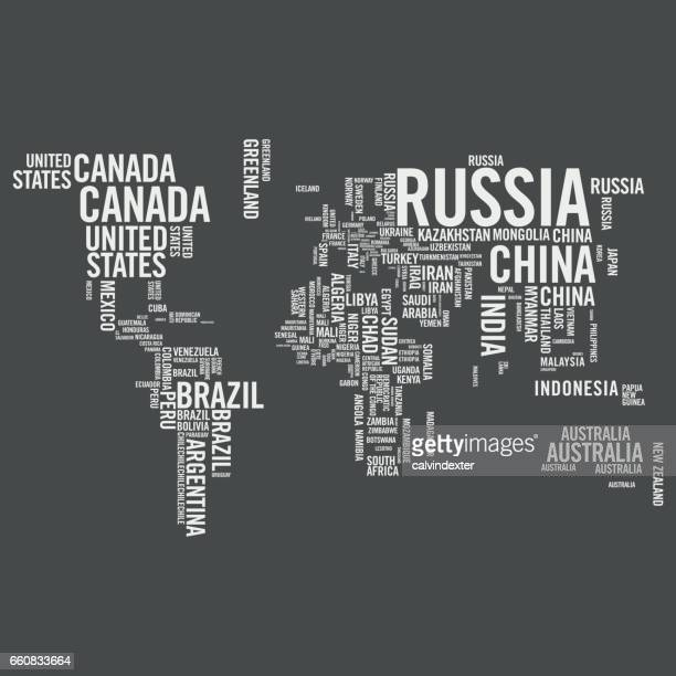 world map illustrated with countries names - latin america stock illustrations, clip art, cartoons, & icons