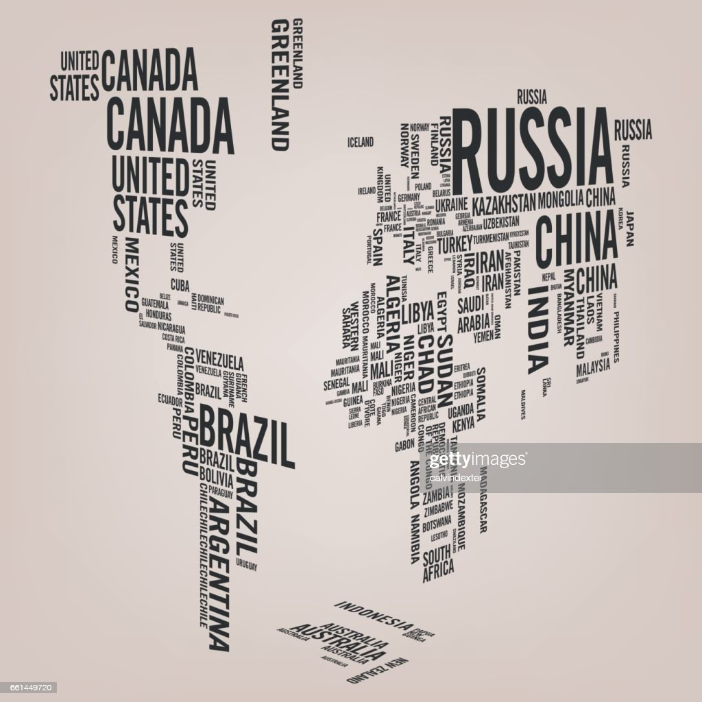 World map illustrated with countries names vector art getty images world map illustrated with countries names vector art gumiabroncs Image collections