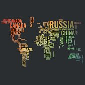 World map illustrated with countries names