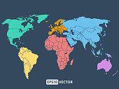 World map illustration, stock vector
