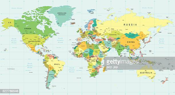 world map - illustration - parallel stock illustrations, clip art, cartoons, & icons