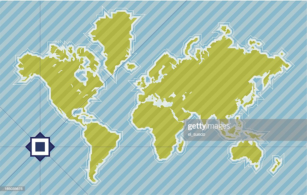 World map in 45 degrees
