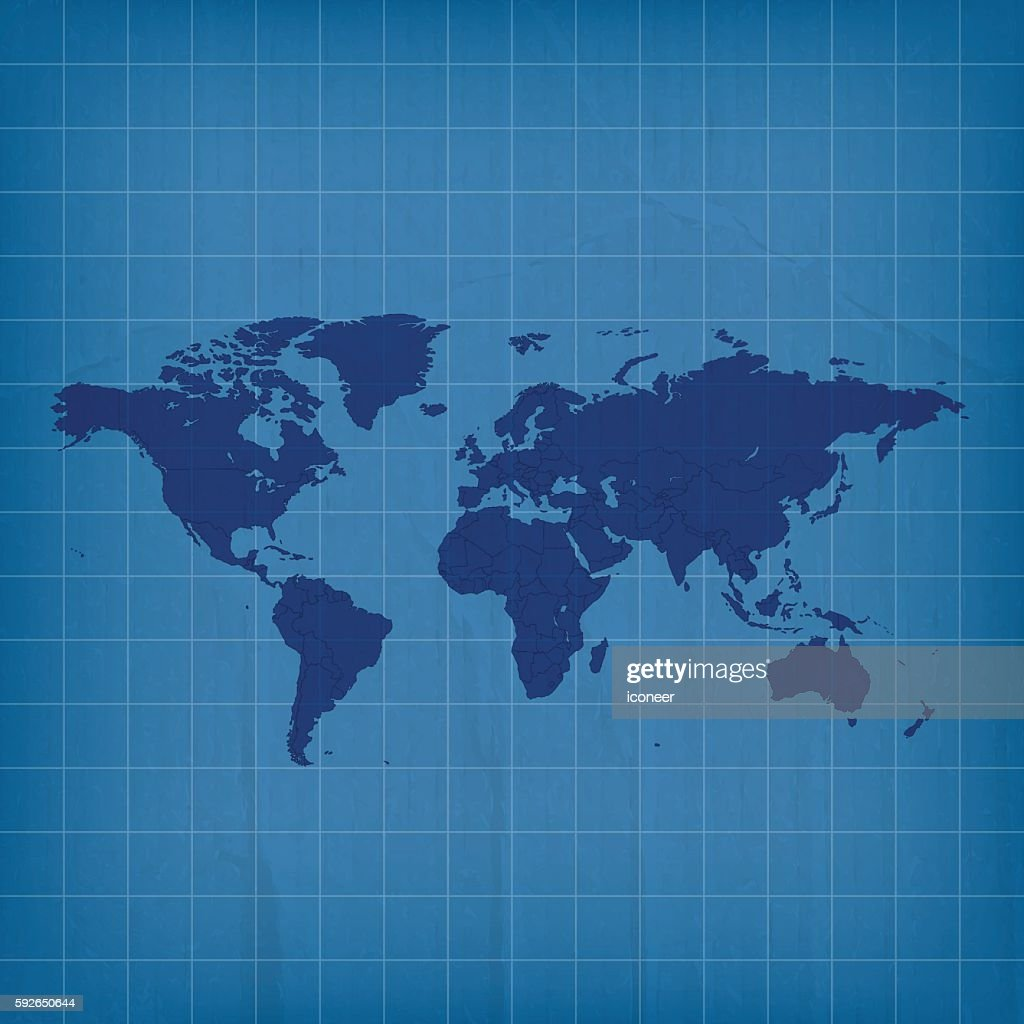 World map in blue on paper grid inked background vector art getty world map in blue on paper grid inked background vector art gumiabroncs Gallery