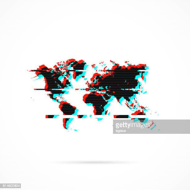 World map in distorted glitch style. Modern trendy effect