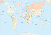 World map in english language
