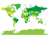 World map in four shades of green on white background. High detail political map with country names. Vector illustration
