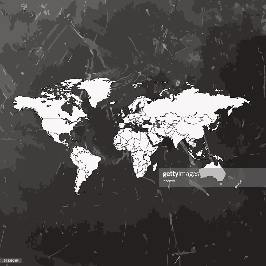 World map in grey colors on dark chalkboard background vector art world map in grey colors on dark chalkboard background vector art gumiabroncs Gallery