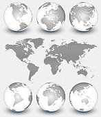World map in linear pattern on gray Background