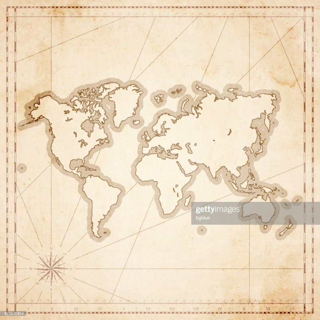 world map in retro vintage style old textured paper vector art