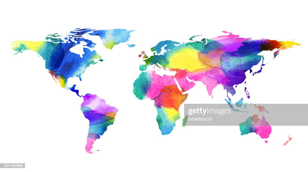 World map in water color style vector art getty images world map in water color style vector art gumiabroncs Gallery