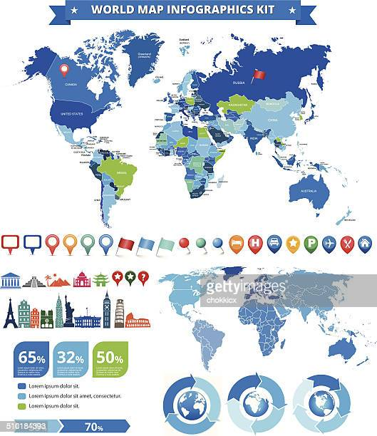 world map infographic kit with landmarks and gps icons