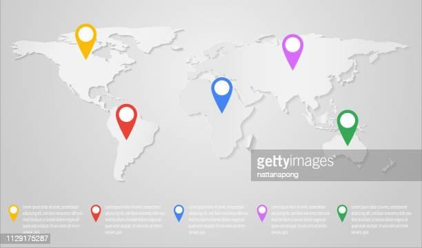 ilustrações, clipart, desenhos animados e ícones de pino de posição infográfico do mapa de mundo - ponteiro do mouse
