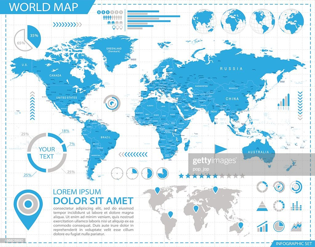 World Map - infographic map - Illustration