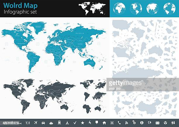 world map - infographic set - international politics stock illustrations