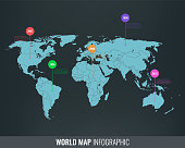 World map infographic template. All country are selectable. Vector
